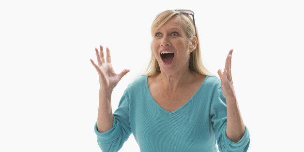 Caucasian woman cheering