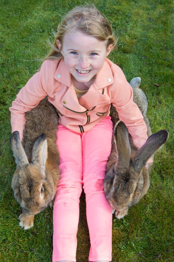 Ava Johnson with Jeff the rabbit.