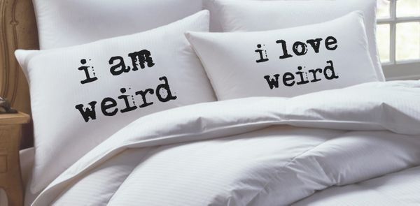 """You can't go wrong with this <a href=""""http://www.etsy.com/listing/189114353/i-am-weird-i-love-weird-couples-gift"""" target=""""_bl"""