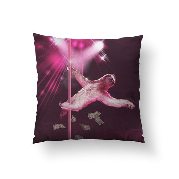 """Nothing brightens up a couch or bed like <a href=""""http://www.overstock.com/Main-Street-Revolution/Dancing-Sloth-Throw-Pillow/"""