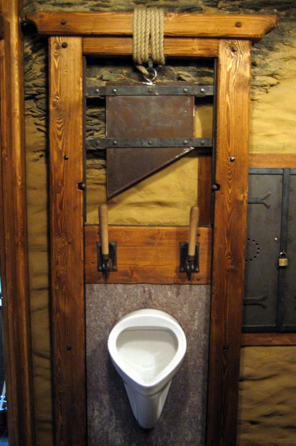 """This utterly terrifying urinal is located in <a href=""""http://www.st-goar.de/1842-1-house-rules-castle-rheinfels.html"""" target="""