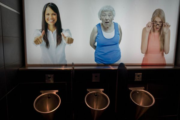 """This anxiety-inducing urinal can be found at the whimsical <a href=""""http://yourfathersmoustache.ca/"""" target=""""_blank"""">Your Fat"""