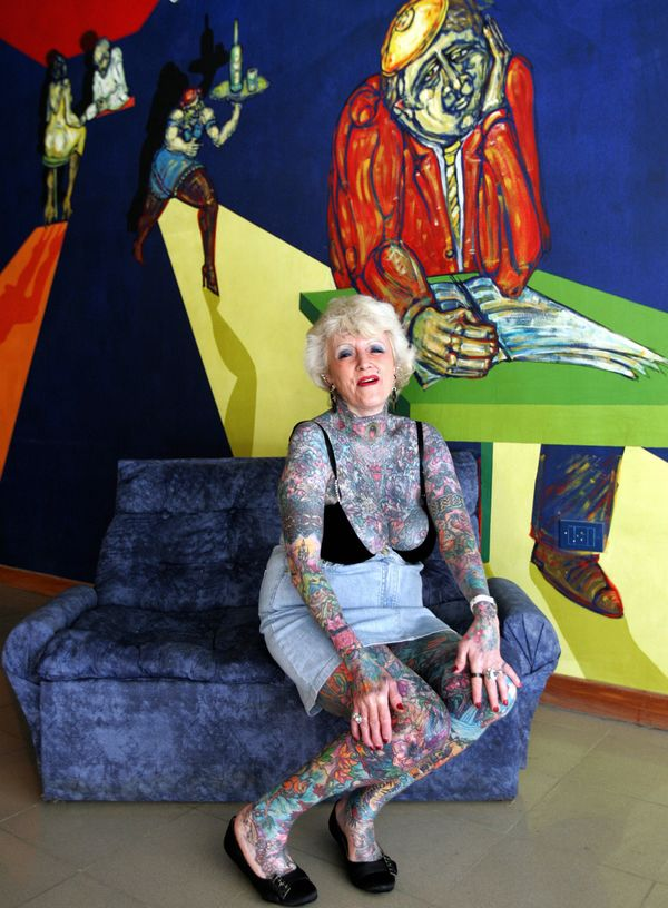 05599deca Guinness World Records officially declared Varley the female senior citizen  with the most tattoos in 2009