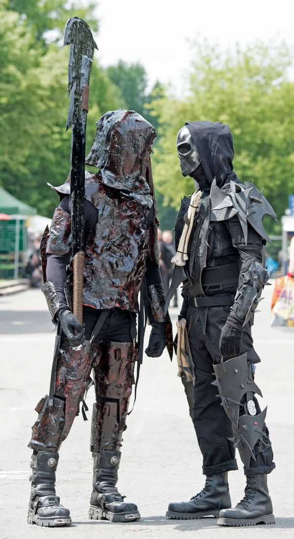 Participants of the Wave Gothic Festival walk in costumes in Leipzig, Germany, on Saturday. (AP Photo/Jens Meyer)