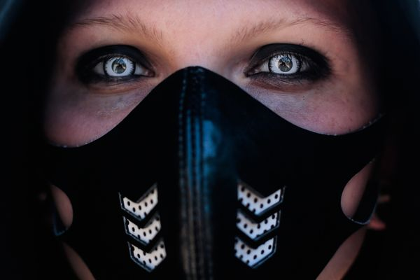 A participant arrives at the Wave Gothic Festival in Leipzig, central Germany, on June 6, 2014.  (AP Photo/Markus Schreiber)