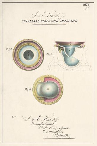 J. & E. Ratcliff's Universal Reservoir Inkstand by J. & E. Ratcliff Manufacturers, 1850.