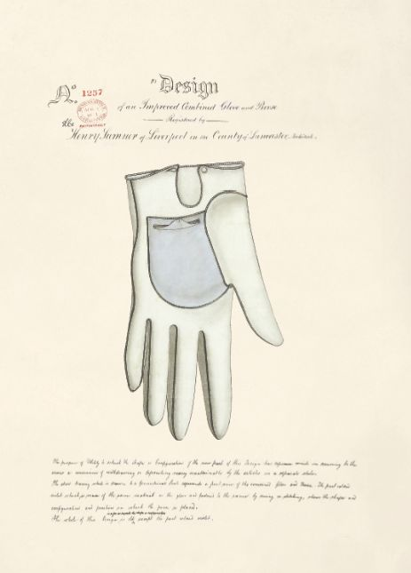 Design of an Improved Combined Glove and Purse by Henry Sumner, 1861