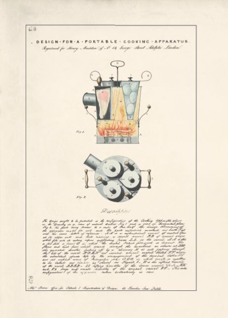 Design for a Portable Cooking Apparatus by Henry Madden, 1845