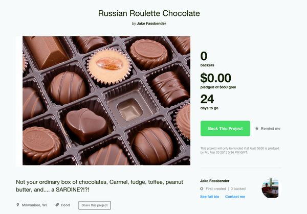 """We're sure Forrest Gump would approve of <a href=""""https://www.kickstarter.com/projects/1913491778/russian-roulette-chocolate?"""