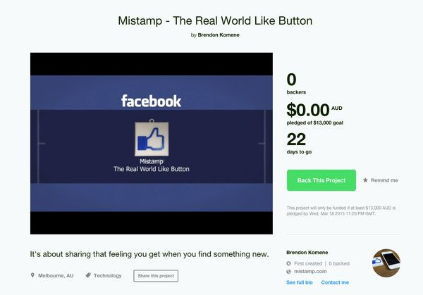 In which you take a real plastic 'button' with the Facebook Like thumbs-up image on it, place it on an object, press the plas