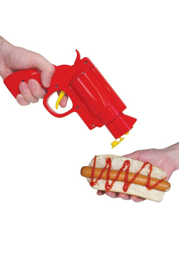 The Second Amendment doesn't specifically guarantee the right for Americans to use firearms as a way to apply condiments onto