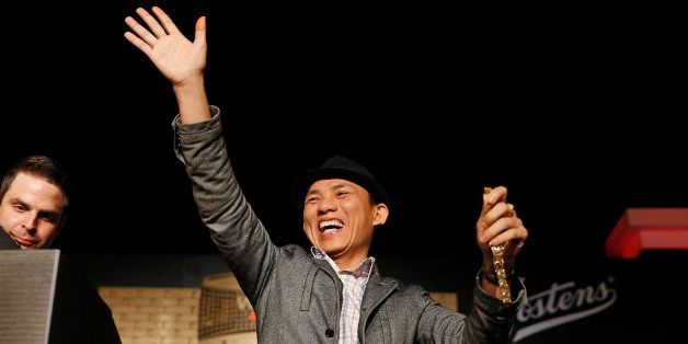 Christian Pham celebrates during a bracelet ceremony after he won the World Series of Poker No-Limit Deuce-to-Seven Lowball D