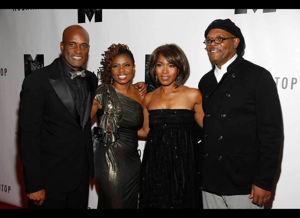 NEW YORK, NY - OCTOBER 13:  (L-R) Director Kenny Leon, playwright Katori Hall, Angela Bassett and Samuel L. Jackson attend an