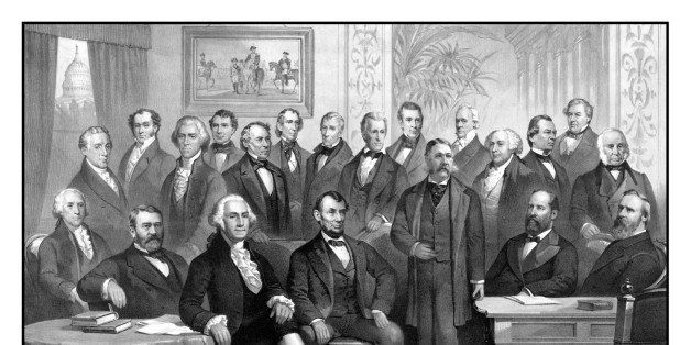 Vintage American history print of the first twenty-one Presidents of The United States seated together in The White House. It