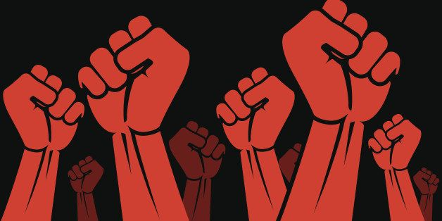 Revolution concept. Red symbol on black background. Clenched fist held in protest vector illustration. Panoramic