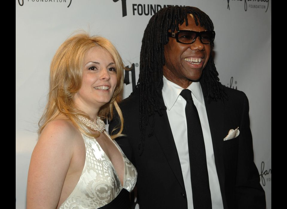 NEW YORK - APRIL 23:   Nile Rodgers and wife Nancy Hunt arrive to the fifth annual We Are Family Celebration Gala at the Hamm