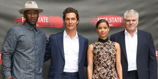 """Mahershala Ali, from left, Matthew McConaughey, Gugu Mbatha-Raw and Gary Ross attend the """"Free State of Jones"""" Photo Call at"""
