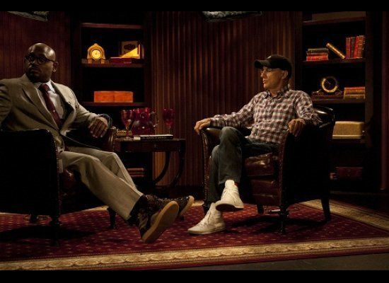 Steve Stoute and Jimmy Iovine during the taping of AOL HuffPost Media Group's, 'Tanning Effect With Steve Stoute.'