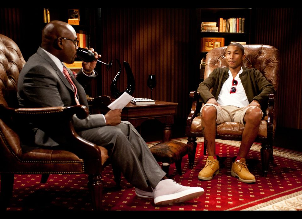 Steve Stoute and Pharrell Williams during the taping of AOL HuffPost Media Group's, 'Tanning Effect With Steve Stoute.'