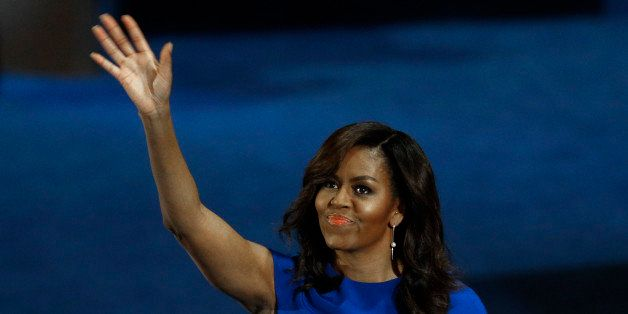 U.S. First Lady Michelle Obama waves after her speech at the Democratic National Convention in Philadelphia, Pennsylvania, U.