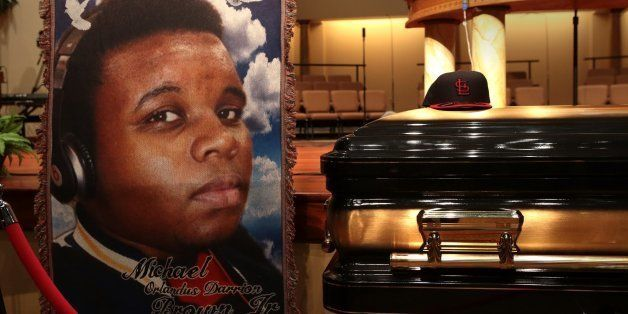 ST. LOUIS, MO - AUGUST 25:  The casket of Michael Brown sits inside Friendly Temple Missionary Baptist Church awaiting the st