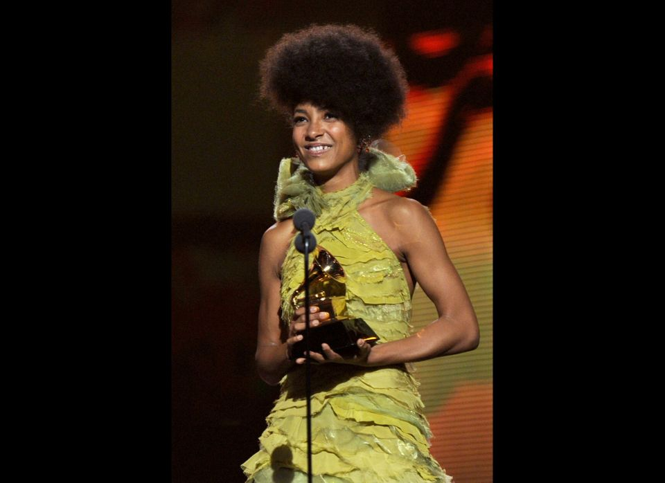 LOS ANGELES, CA - FEBRUARY 13:  Singer Esperanza Spalding accepts the Best New Artist Award onstage during The 53rd Annual GR