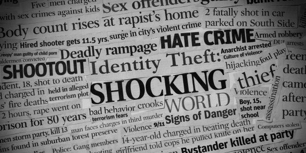 A collage, black and white with vignette made up of headlines from US newspapers.