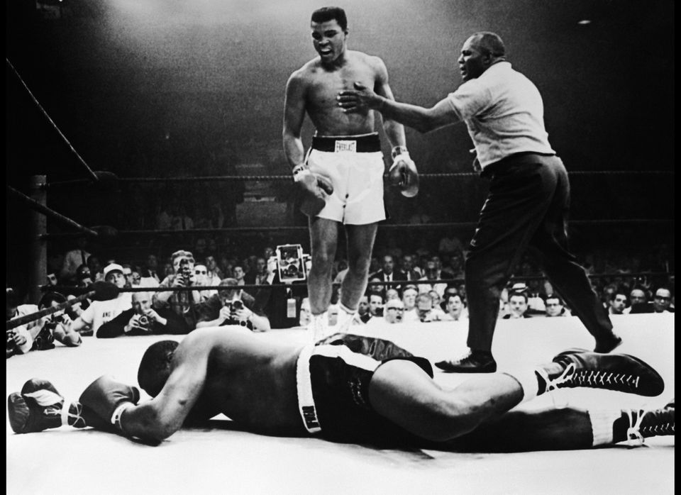 Sonny Liston lies out for the count after being KO'd in the first round of his return title fight by world heavyweight champi