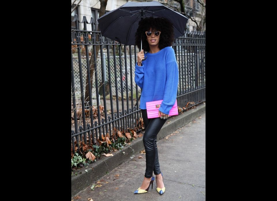 """<em>""""Off to the studio in a T by Alexander Wang sweater, Guess by Marciano leather pants, BCBG shoes a CC Skye clutch (yes, I"""