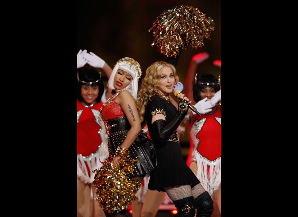 INDIANAPOLIS, IN - FEBRUARY 05:  Singers Nicki Minaj and Madonna perform during the Bridgestone Super Bowl XLVI Halftime Show