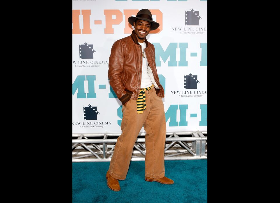 "Andre Benjamin arrives at the New Line premiere of ""Semi-Pro"" held at the Mann Village Theater on Feb. 19, 2008 in Los Angele"