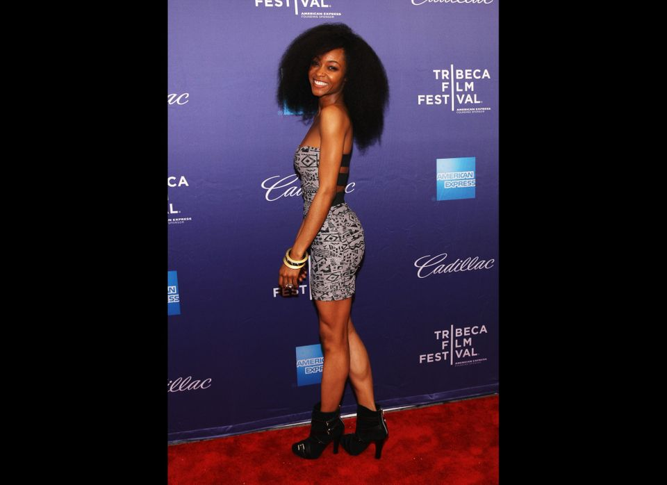 NEW YORK, NY - APRIL 21:  Actress Yaya DaCosta walks the red carpet at the 'Whole Lotta Sole' Premiere at the 2012 Tribeca Fi