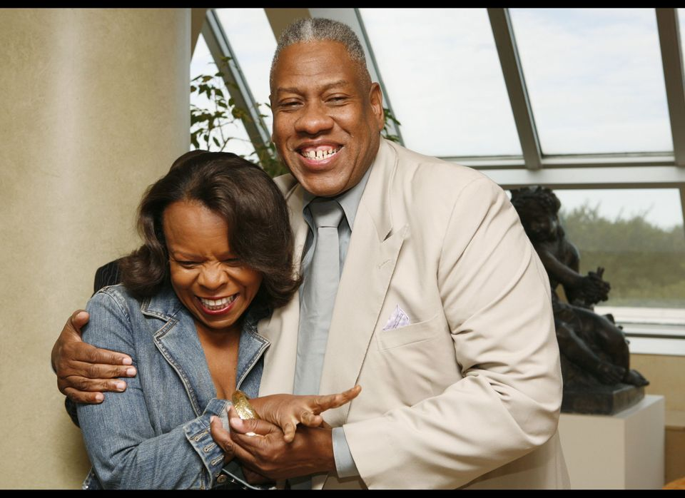 NEW YORK - SEPTEMBER 5: Wall Street Journal reporter Teri Agins (L) and Andre Leon Talley (R) attend a breakfast for Harriett