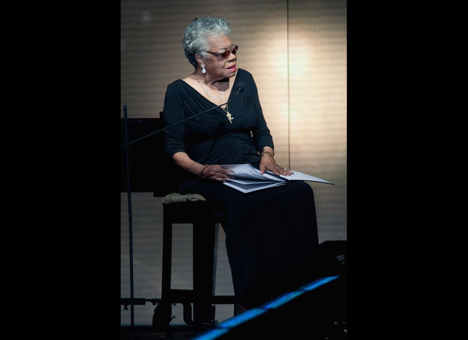 Maya Angelou attends Surprise Oprah! A Farewell Spectacular at the United Center in Chicago.