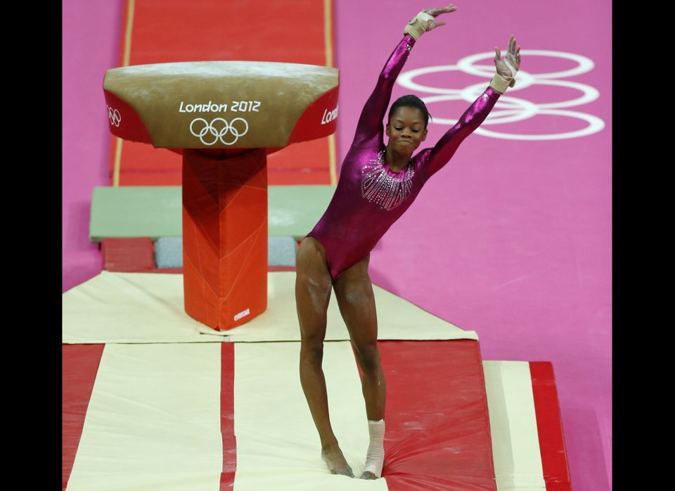 U.S. gymnast Gabrielle Douglas dismounts from the vault during the Artistic Gymnastic women's individual all-around competiti