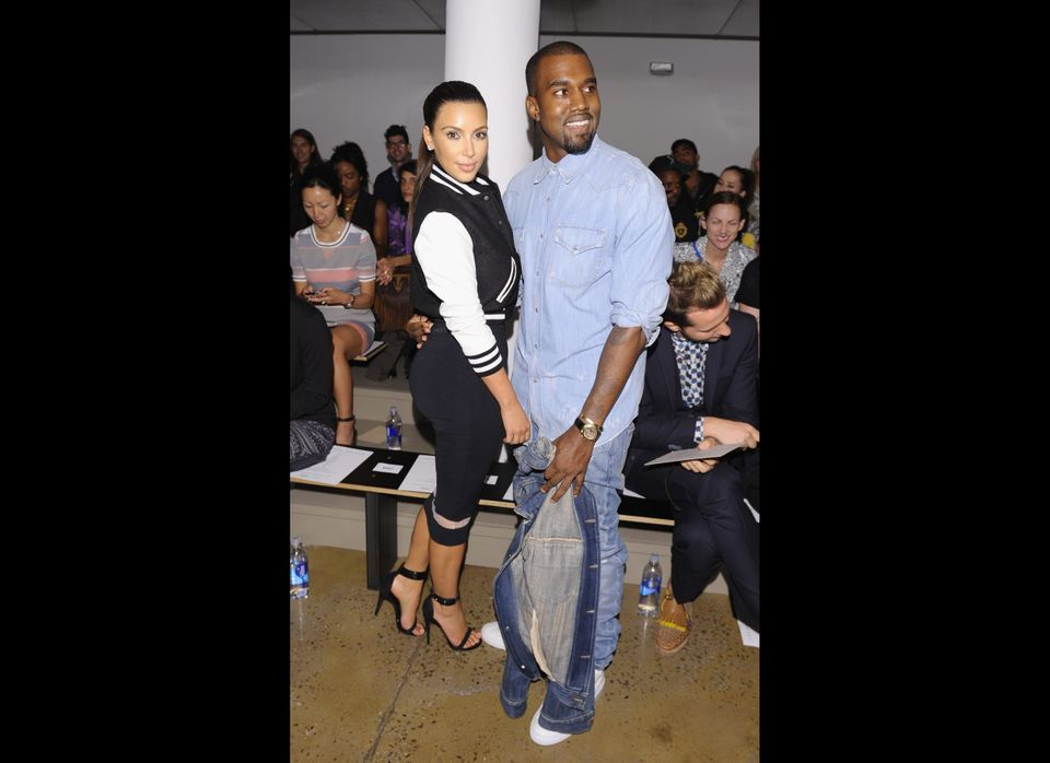 NEW YORK, NY - SEPTEMBER 12:  TV Personality Kim Kardashian and Rapper Kanye West attend Louise Goldin Spring 2013 at Milk St