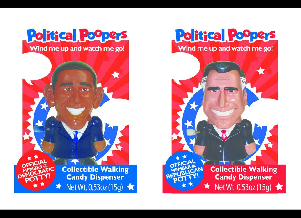 These plastic wind-up toys of grinning Republican Candidate Mitt Romney and Presidential Incumbent Barack Obama come with red