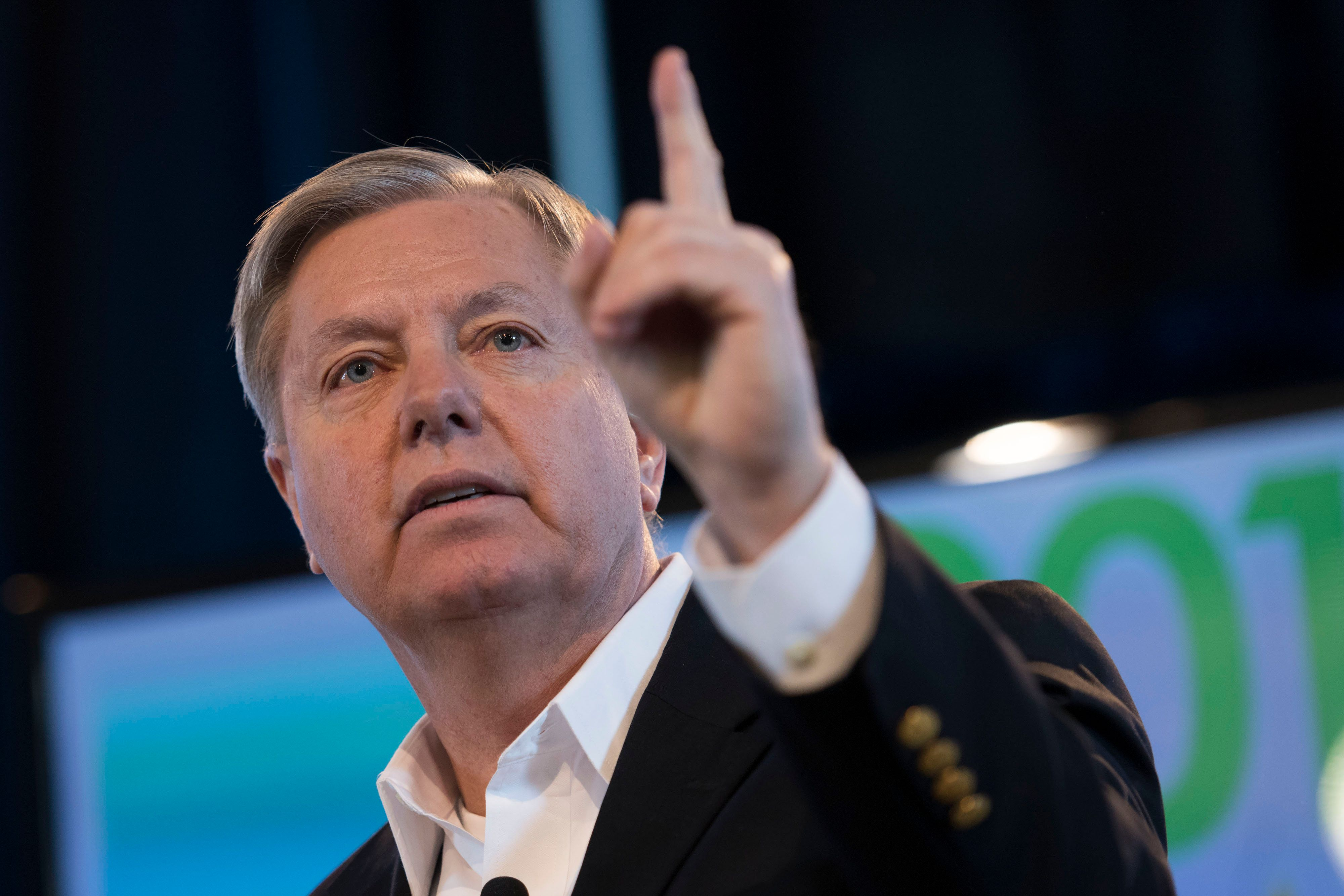 Senator Lindsay Graham, a Republican from South Carolina, speaks during the Iowa Ag Summit at the Iowa State Fairgrounds in Des Moines, Iowa, U.S., on Saturday, March 7, 2015. The event aims to highlight the role that agriculture plays in Iowa and the rest of the world. Photographer: Daniel Acker/Bloomberg via Getty Images