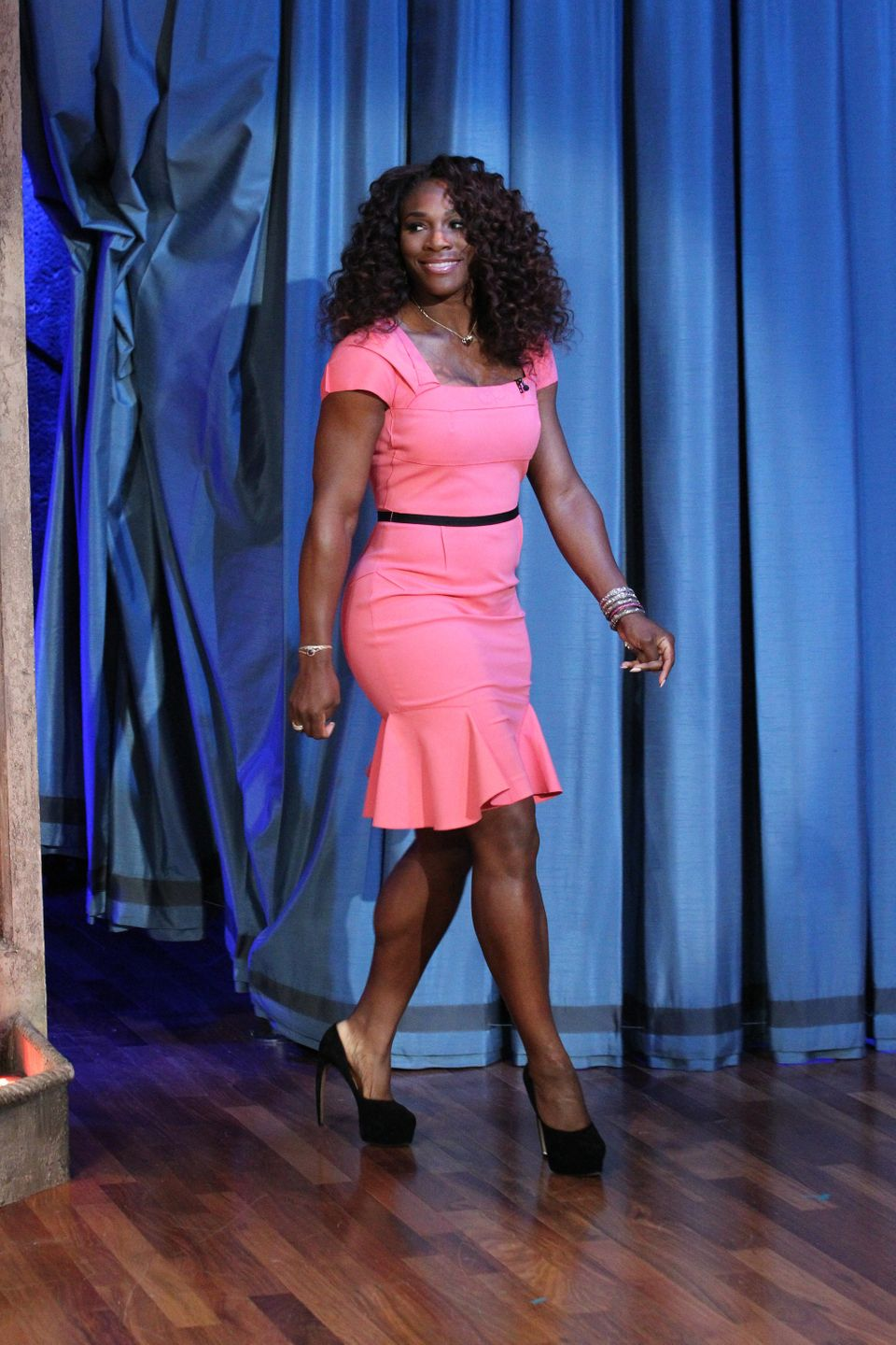 LATE NIGHT WITH JIMMY FALLON -- Episode 695 -- Pictured: Serena Williams arrives on September 10, 2012 -- (Photo by: Lloyd Bi