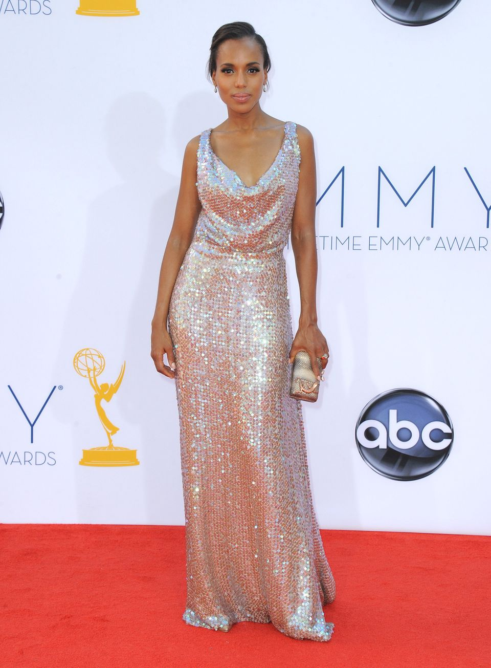 Actress Kerry Washington arrives at the 64th Primetime Emmy Awards at the Nokia Theatre on Sunday, Sept. 23, 2012, in Los Ang