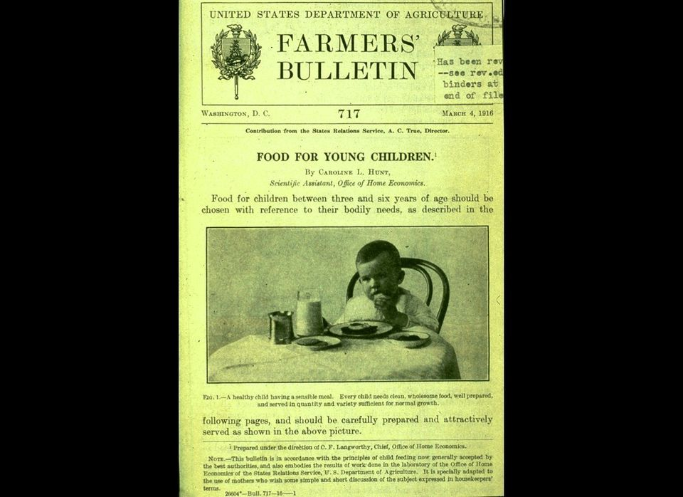 "The USDA's first food guide, ""Food For Young Children"" by nutritionist Caroline Hunt, <a href=""http://www.ers.usda.gov/public"