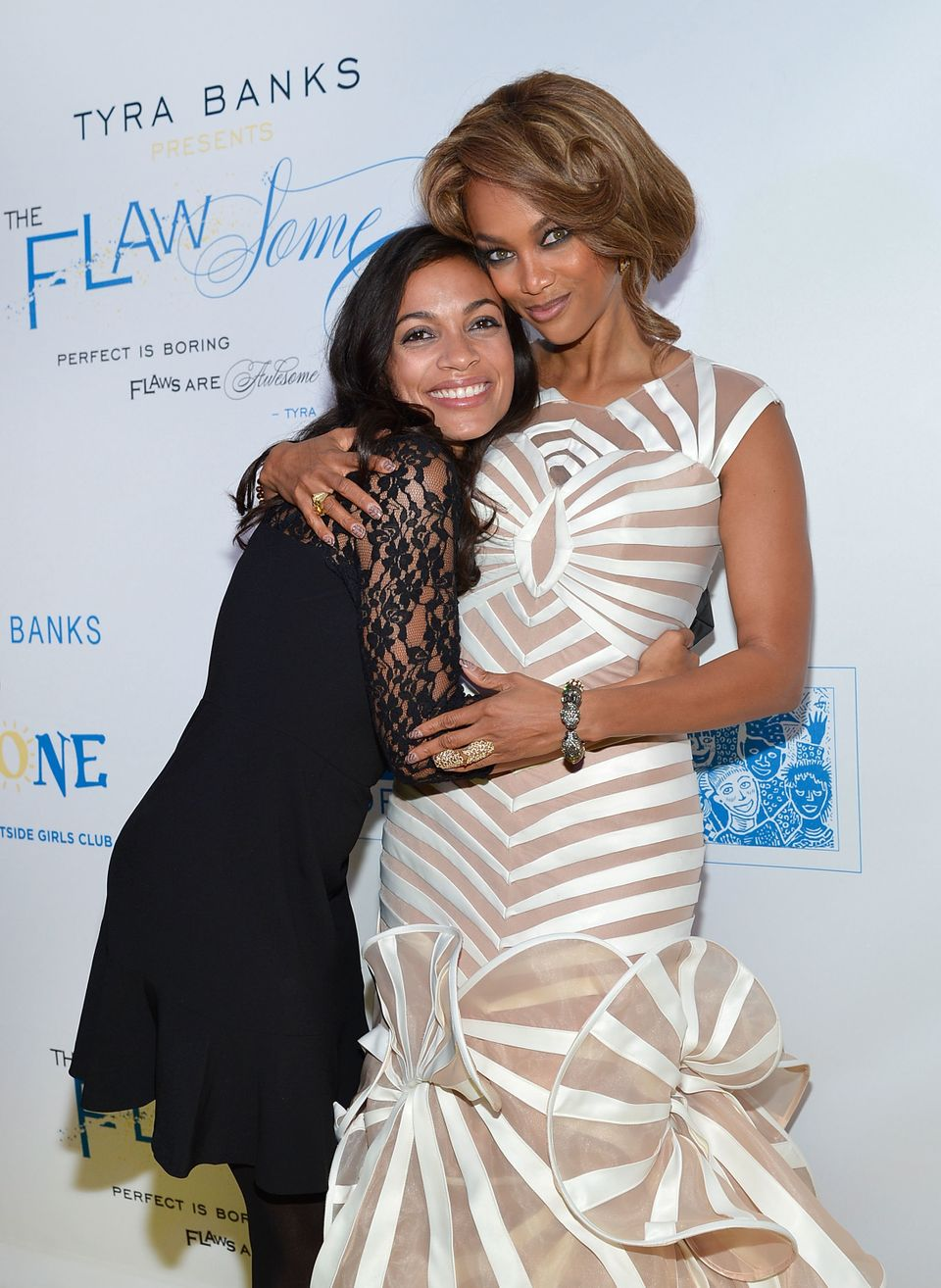 NEW YORK, NY - OCTOBER 18:  Actress Rosario Dawson (L) and model/media personality Tyra Banks attend The Flawsome Ball For Th