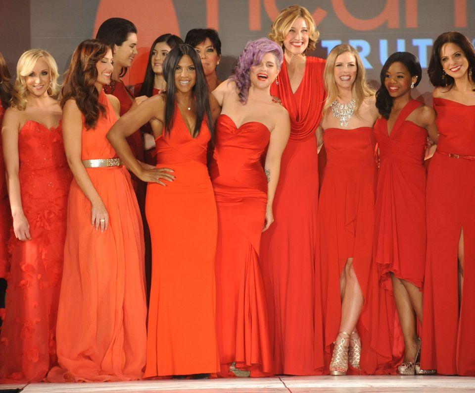 NEW YORK, NY - FEBRUARY 06:  (L-R) Nastia Liukin, Minka Kelly, Kendall Jenner, Kylie Jenner, Toni Braxton, Kelly Osbourne, Br