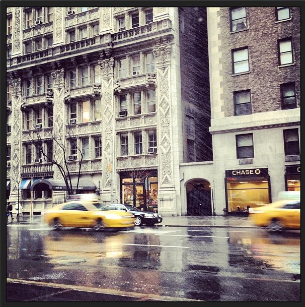 """""""It's a snowy (or is the rain...kind of both) #nyfw Friday morning"""""""