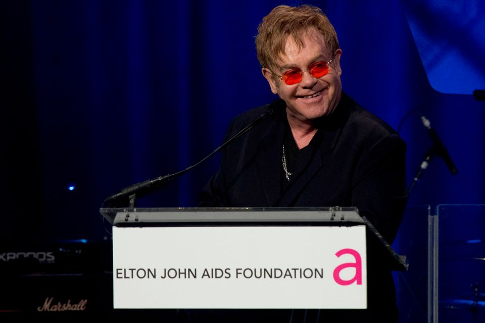 FILE - In this Monday, Oct. 15, 2012 file photo, Elton John appears on stage at his AIDS Foundation's 11th annual Enduring Vi