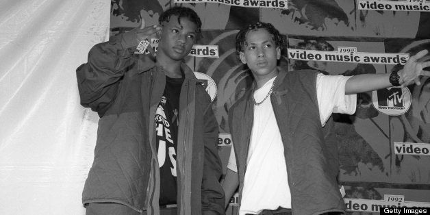 American rap duo Kris Kross, Chris 'Daddy Mac' Smith and Chris 'Mac Daddy' Kelly, pose at the 1992 MTV Video Music Awards,  P