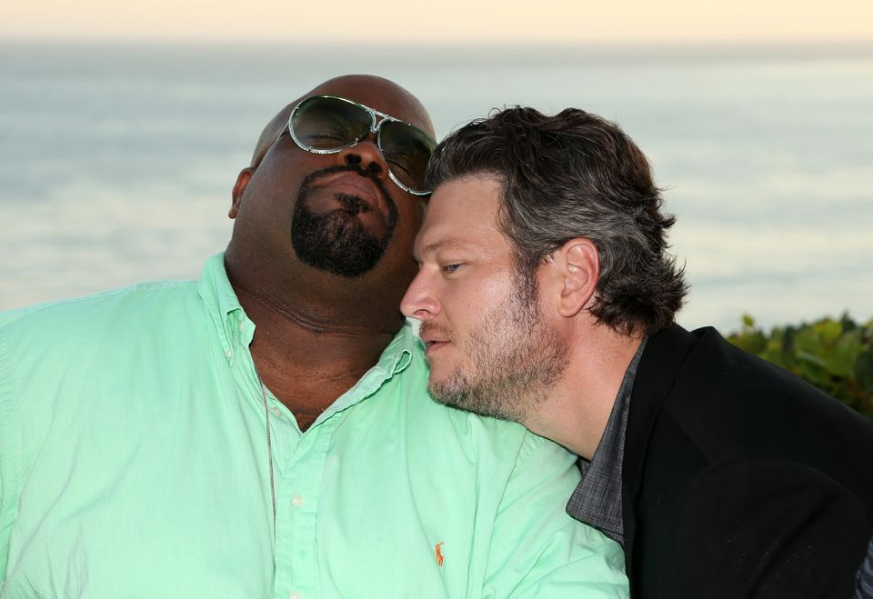 LOS ANGELES, CA - AUGUST 12:  The Voice's Cee Lo Green (L) and Blake Shelton attend the NBCUniversal's 'The Voice' Press Junk