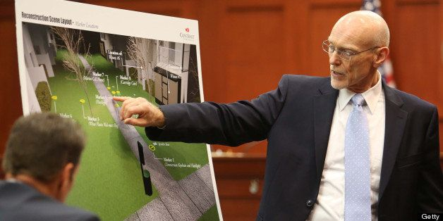 SANFORD, FL - JUNE 24:  Don West, a defense attorney for George Zimmerman, displays a graphic showing the scene of the shooti