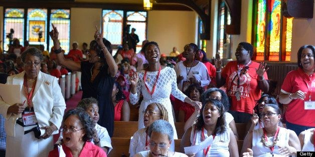 WASHINGTON-DC: JULY 11 Sorors of the Delta Sigma Theta participate in a church service  for the stained glass reception at Ho
