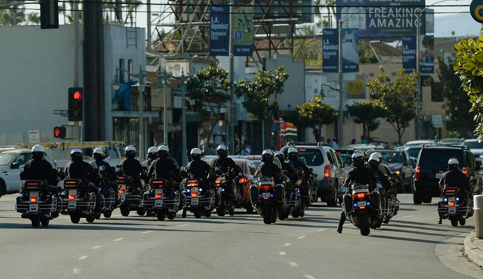 A show of force by the Los Angeles Police Department to prevent disturbances by protestors around Leimert Park during a demon